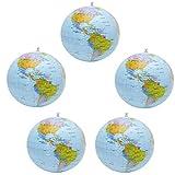 YuChiSX 5 Piezas de Globo Inflable Globo Terráqueo PVC Bola de Playa de Tierra Inflable para Jugar en Playa o Enseñanza, Colorido, para Escolar Juguetes niños Aprender geografía