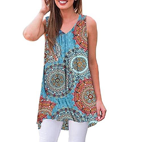 Momoxi Frauen Sommer ärmelloses Print V-Ausschnitt T-Shirt Tunika Tops Bluse Shirts Sommertop,Spitze Weste Oberteile Unterwäsche Trägertop Blau 2XL