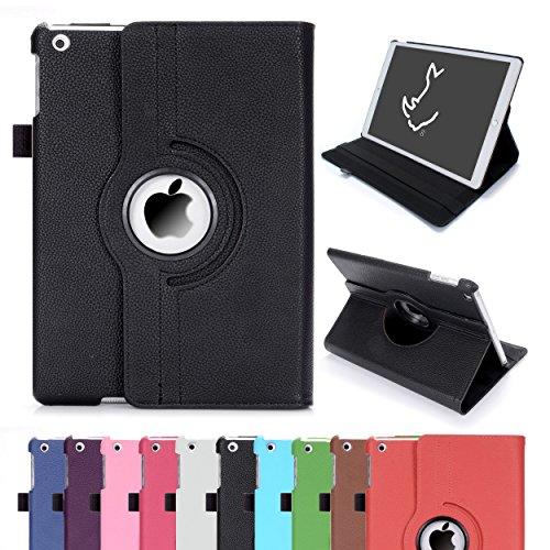 iPad Air Case, RC IDP-360-AIR iPad Air 360 Rotating Smart Case PU Leather Cover Stand for Apple iPad Air Sleep/Wake (iPad Air, Black)