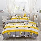 Cubierta del edredón de la serie de impresión de rayas,Ropa de cama de cuatro piezas Probador de doble colchón profundo algodón puroConjunto de ropa de cama cepillado Adecuado para cama de 1,8 m