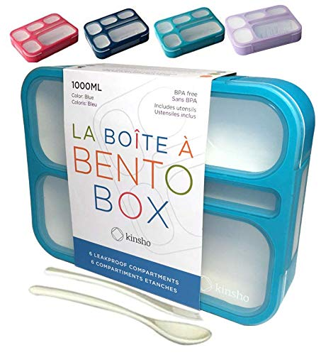 "Bento Box午餐盒为儿童成人|小孩零食容器|防漏学校Bentobox 6舱室集装箱男孩女性午餐|BPA免费套件|蓝色""data-large_image_width="