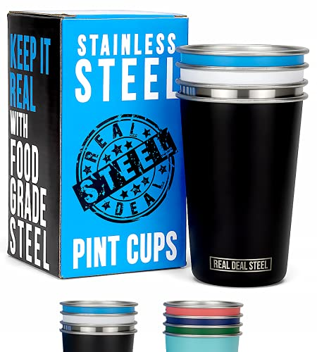 Stainless Steel Pint Cups 16oz: Real Deal Steel Set of 4 Premium Metal Drinking Glasses, BPA Free, Stackable, Durable, Shatterproof Single Wall Multicolor Tumblers for Camping, Outdoors, Pool, Beer