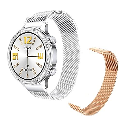 ZGLXZ H58 Mujer Inteligente Reloj De 1.1 Pulgadas Pantalla Táctil 24H Ritmo Cardíaco Monitor Fisiológico Femenino Mujer Smartwatch para Android iOS,E