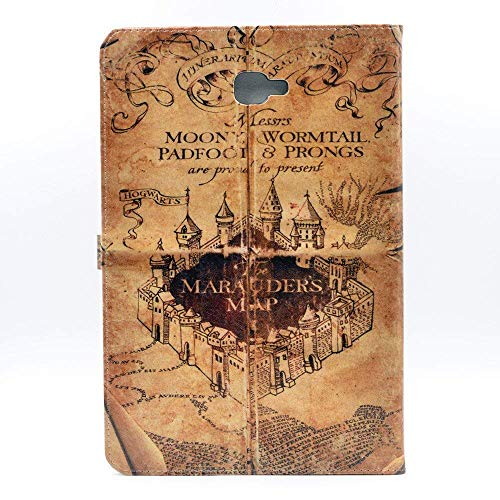 YHB Case for Galaxy Tab A 10.1 (2016 Release), Marauder's Map Vintage Retro Leather Flip Stand Case Cover for Samsung Galaxy Tab A 10.1 SM-T580/T585/T587, (NO for S Pen Version)