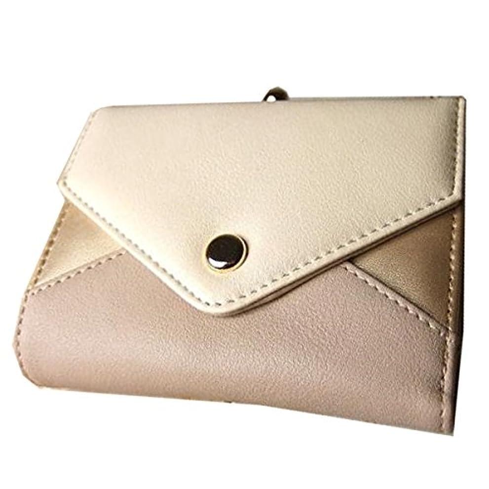 キャンペーン細心のベスビオ山大きく開くがま口ポケットと配色三角フラップの二つ折り財布 LB