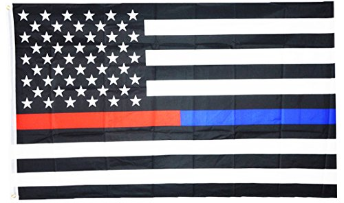 ERT 3x5 Thin Blue Line Police & Thin Red Line Firefighter Respect and Honor Law Enforcement First Responder US Flag 3x5 Foot USA