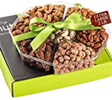Holiday Nuts Gift Basket - Extra Large 2LB - Sweet & Salty Dry Roasted Gourmet Gift Basket - Edible Arrangement Food Gift Basket for Christmas, Thanksgiving, Fathers Day, Sympathy, Family, Men & Women
