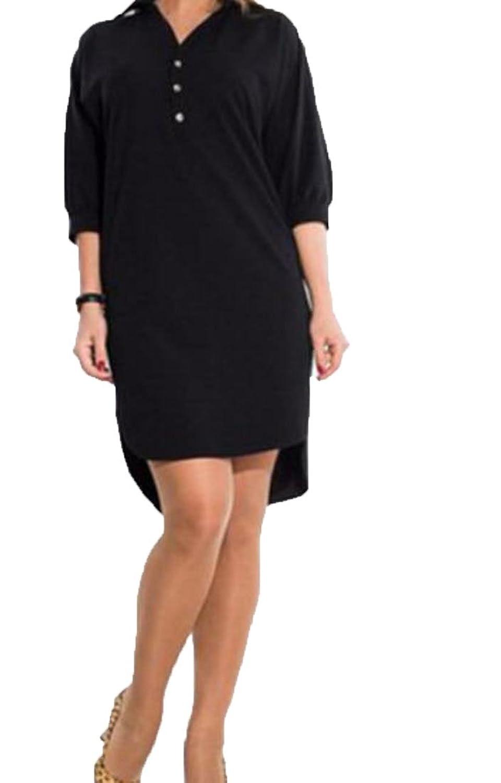 Nicellyer Women's Modern Solid Irregular Plus Size Cocktail Dress Sundress