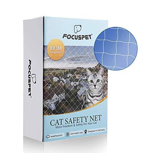 FOCUSPETINLIFE Red de Proteccióno para Gatos, 3 X 8M Red de Seguridad Animales para Balcones y Ventana Red de Grilla de Protección Transparente Se Puede Cortar