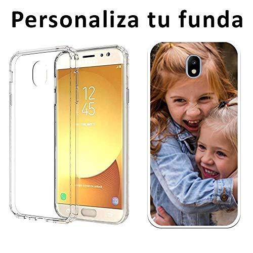 Mookase Funda Carcasa Personalizada Reforzada para tu móvil Samsung Galaxy con Foto, Imagen o Texto. Flexible, Bordes Transparentes (J7 2017, Reforzada)