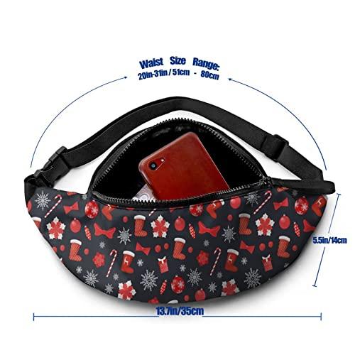 MSJS Calcetines de Navidad con patrón de caramelo Lollipop Bumbag cintura riñonera para correr hombres mujeres unisex bolsa de cinturón ajustable para exteriores, entrenamiento, senderismo, regalos