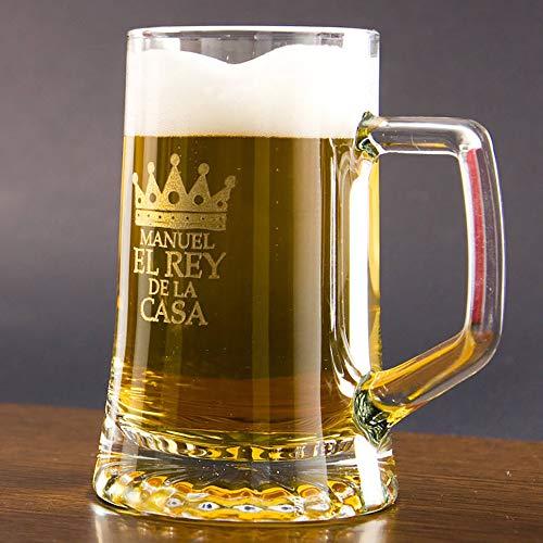 Regalo Original para Hombre: Jarra de Cerveza de Cristal para 'el Rey de la casa' Personalizada con Nombre, cumpleaños o el Día del Padre