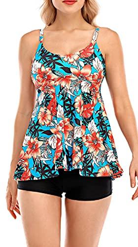 UMIPUBO Conjunto de Bikini para Mujer Traje de Baño en Dos Piezas Tankini Vest + Short de Baño Traje Conjunto de Bañador Swimsuit Ropa de Playa (A, M)