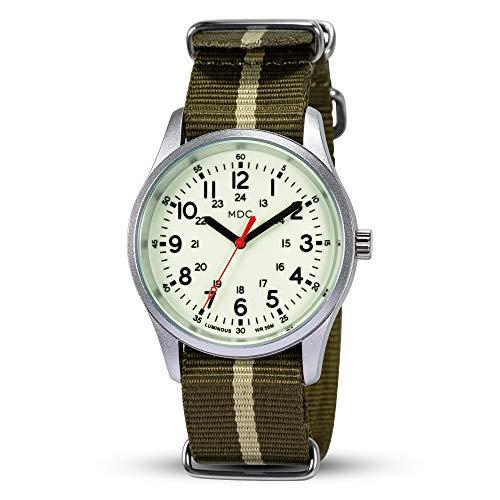 Männer Militär Uhr Nachtleuchtende Outdoor Uhren Arbeitsuhr Herren Armbanduhr Analog Quarz Tactical Watch Wasserdicht 12/24 Stunden mit Grün Natoband by MDC