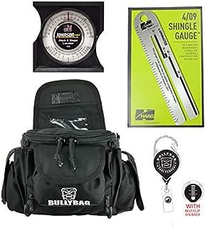 BullyBag & Tool Co. 5 pack: BullyBag Ultra Pouch + Haag Shingle Gauge, Johnson Pitch Gauge, with BullyBag Badge & BullyBag Gear Retainers