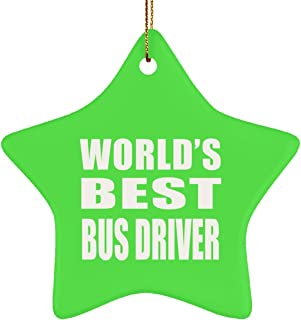 World's Best Bus Driver - Star Ornament Christmas Tree Decor-ation - Gift for Friend Colleague Retirement Graduation Kelly Birthday Anniversary Christmas Thanksgiving