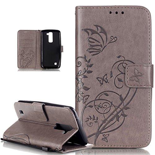 Kompatibel mit LG K10 Hülle,LG K10 Lederhülle,LG K10 Handyhülle,Prägung Blumen Reben Schmetterling PU Lederhülle Handyhülle Handy Tasche Flip Wallet Ständer Etui Schutzhülle für LG K10 3G / 4G,Grau