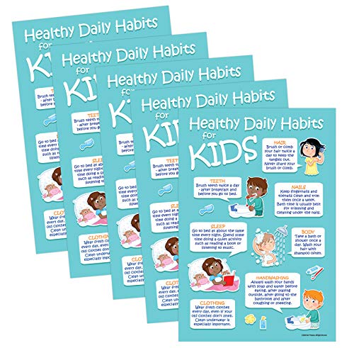 5 Pack: Kids 7 Healthy Daily Habits Poster - Hygiene Posters for Kids - Kids Health Posters for School - Health Posters for School Nurse Office - 12 x 18 in - Laminated