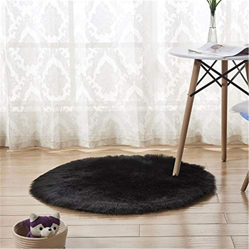 xiangju Moderner minimalistischer Teppich Bodenmatte schwarzer runder Plüsch Sofakissen Kissen Schlafzimmer voller Laden Wohnzimmer Zuhause Erker -35cm