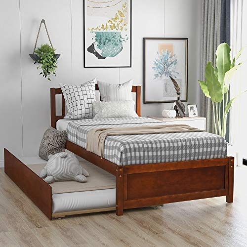 Rhomtree Twin Size Platform Bed with Trundle Bed Frame Daybed with Headboard Kids Bed for Teens Boys Girls Adults Guests (Walnut)