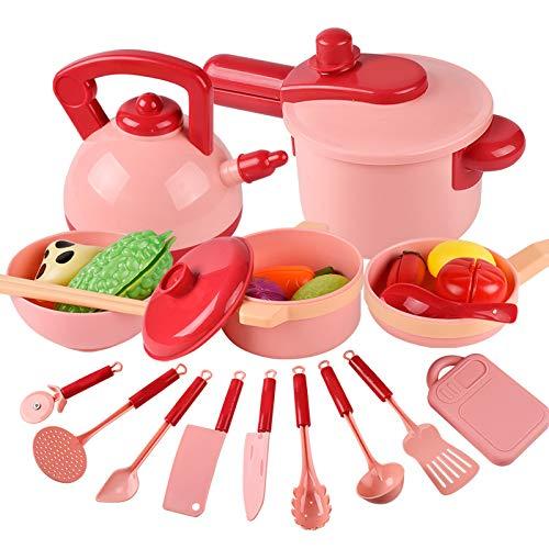 Starmood Juego de juguetes de cocina de plástico para niños, juego de cocina, juego de cocina de simulación para cortar verduras, mini ollas y sartenes Set para niñas, niños