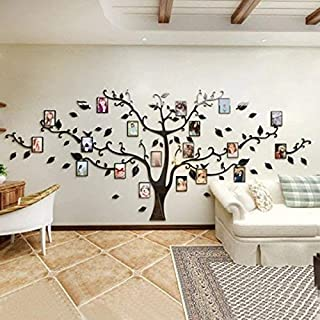 Unitendo 3D Wall Stickers Photo Frames FamilyTree Wall Decal Easy to Install &Apply DIY Photo Gallery Frame Decor Sticker Home Art Decor Black.