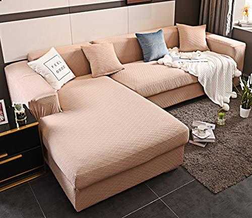 JUNPE Sofabezug Ecksofa U Form Pink 1 2 3 4 Seater Sofa Cover All-Season Stretch Sofa Slipcover Anti-Skid-elastischer Polyester Couch-Abdeckungs-Schutz (Size : 235-300cm Four seat)