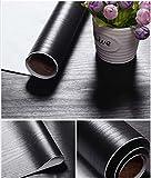 Glow4u Bois Noir texturé Grain Contact papier Vinyle autocollant étagère Doublure de tiroir couvrant pour armoires de...
