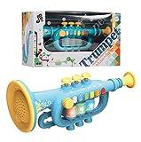 CestMall Trompeta de Juguete, Trompeta con música, portátil, para niños, Juguete de plástico, Trompeta, con Instrumento Musical Iluminado, Trompeta, Regalo para Aprendizaje y Entretenimiento