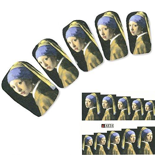 JUSTFOX - Tattoo Nail Gemälde Vermeer Mädchen mit dem Perlohrring Aufkleber Nagel Sticker