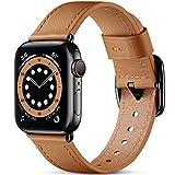 Oielai Correa de Cuero Compatible con Apple Watch Correa 38mm 40mm 42mm 44mm, Suave Genuino Cuero Reemplazo Correa para iWatch SE/Series 6 5 4 3 2 1, 38mm/40mm, Caramelo