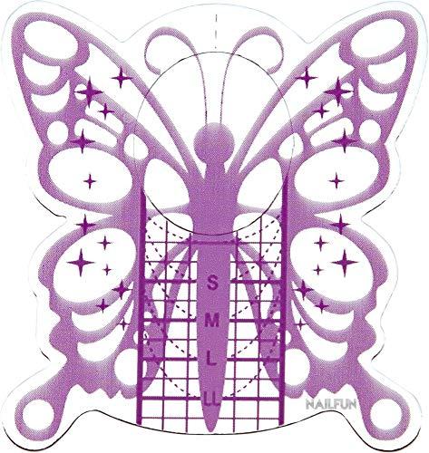 1 Packung (50 Stück) selbstklebende BUTTERFLY silver purple Modellier Schablonen für die künstliche Fingernagel Modellage