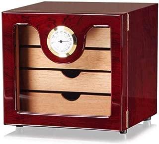 LIFANGAU Cigar Humidor, Moisturizing Cream, Wood Color Large Capacity Cigar Box (Color : Red)