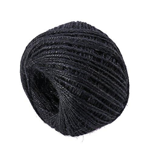 Rosenice - Cuerda de yute negro natural para manualidades, multifunción, 100 m
