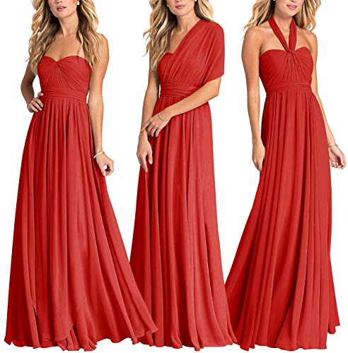 Women's Infinity Transformer Convertible Chiffon Long Bridesmaid Dresses 2018 Red