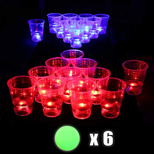 Xing An The Dark Pong Set Pong Cup Set Glow, LED Pong Cups and Glow-in-The-Dark Balls 22 Glowing Cups(11 Red &11 Blue)