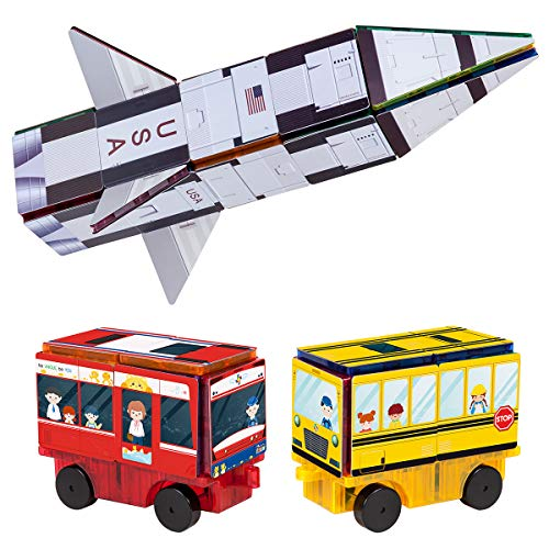 PicassoTiles Magnet Building Blocks STEM Learning Construction Toy Set Early Education Kit 3-in-1 Rocket, School Bus, Train Theme Stick-On Puzzle Pretend Play Magnetic Tiles Kids Building Block Toys