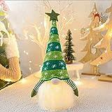 WREWING - Decorazione natalizia in peluche, senza viso, per bambole luminose, alimentata a batteria, 41 x 20 cm, colore: Verde