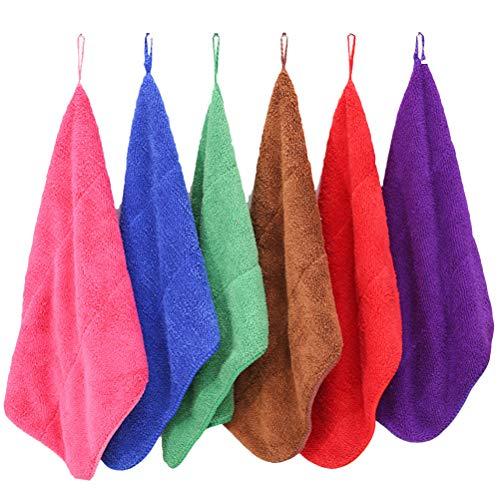OUNONA - 6 toallas de mano de microfibra para guardería, de secado rápido, para colgar