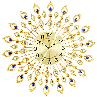 "KINBEDY 28"" Luxury Crystal Bohemian Peacock Style Metal Rustic Wall Clock with Silent Movement 10"" Metal Dial Large Sunburst Big Fancy Decorative Clock for Living Room, Bedroom, Office Space."