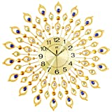 """KINBEDY 28"""" Luxury Crystal Bohemian Peacock Style Metal Rustic Wall Clock with Silent Movement 10"""" Metal Dial Large Sunburst Big Fancy Decorative Clock for Living Room, Bedroom, Office Space"""