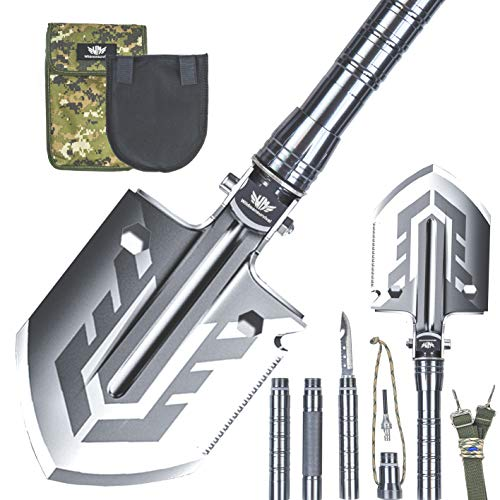 Wildmansurvival Survival Shovel, Camping Shovel, Tactical Multitool Compact Lightweight Aluminum Handle w/Carrying Pouch, Multi-Use as Gift, Hiking, Emergency, Outdoor Adventures and More