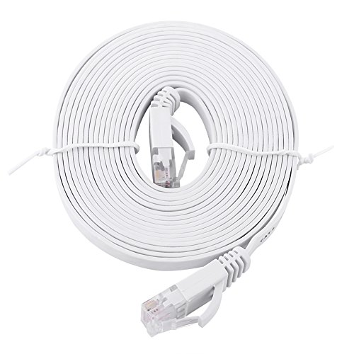 RJ45 CAT6 Red Ethernet Cable LAN Plano UTP Patch Router Cables 1000M - Blanco 3 Metros
