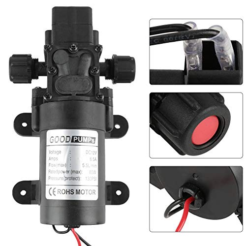 KAIBINY Bomba de Agua de Bomba de Agua de diafragma de 12V 80W 5.5L / min Bomba de autopelos Interruptor de presión Inteligente Bomba de diafragma