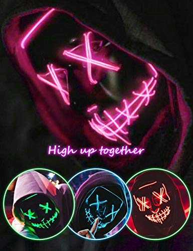 Scary LED Halloween Mask, Masquerade Cosplay Light Up Face Mask for Men Women Kids Pink