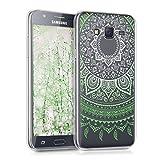kwmobile Funda para Samsung Galaxy J5 (2015) - Carcasa de TPU para móvil y diseño de Sol hindú en Verde/Blanco/Transparente