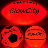 Glow-in-The-Dark Light Up LED Balls – Variety 3 Pack of Official Sized Basketball, and Football,...