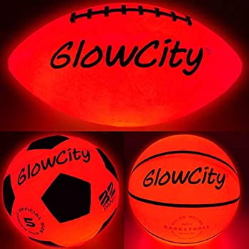 Glow-in-The-Dark Light Up LED Balls – Variety 3 Pack of Official Sized Basketball and Football and Size 5 Soccer Ball – Ideal for Glow Parties and Playing at Night – Bonus Spare Batteries