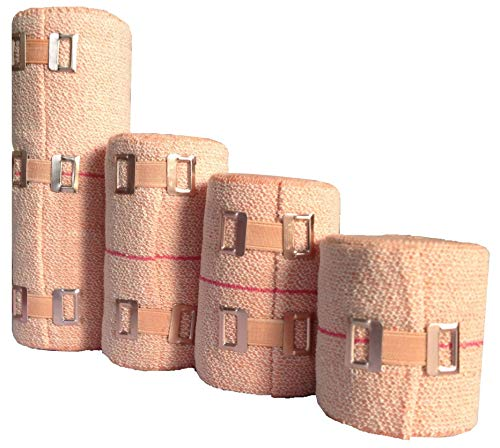 SETH–4 Sizes Soft Compression Crepe Bandages|Elastic Bandage Wraps|Bandage Rolls|Compression Wrap|Ankle Wrap For Leg Sprain|Athletic Sport Support Tape Rolls For Wrist|Hand Wraps - With Bandage Clips.