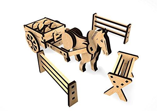 WoodHeroes 3002 paard met kar, 190 x 72 x 70 mm, hout, 1 stuk